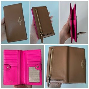 Kate Spade Stacy Bifold Wallet - Chocolate / pink
